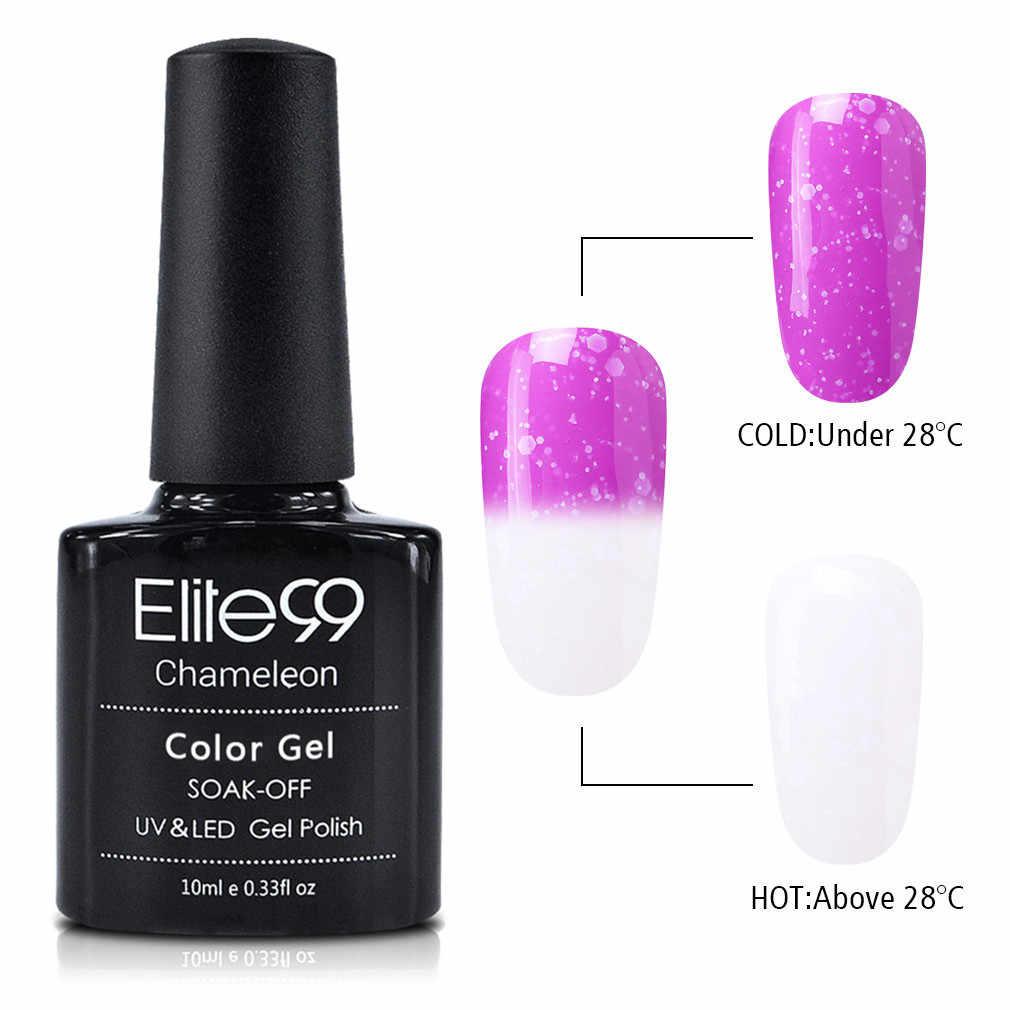 Elite99 10ml karlı termal jel oje bukalemun sıcaklık değişimi renk jel vernik kapalı islatın Nail Art tasarım jeli lak