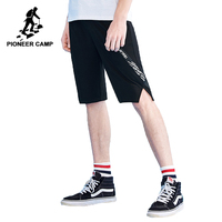 Pioneer Camp new arrival casual shorts men brand clothing black print mens shorts quality stretch cotton male shorts ADK802101