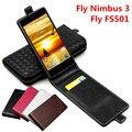 Clássico luxo avançado couro top bolsa em couro flip case for fly nimbus 3 fs501 voar nimbus3 fs 501 telefone capa case com cartão Slot