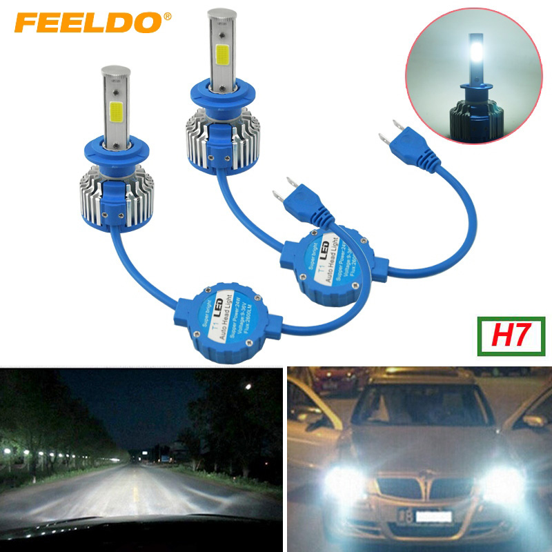 FEELDO 1Pair H7 COB Headlight Kits 6000K 48W 5200LM Car LED Headlights COB Chips Car Fog ...