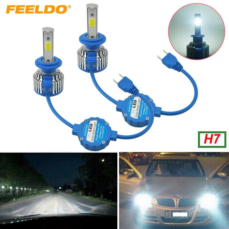Feeldo 1 пара H7 COB фар Наборы 6000 К 48 Вт 5200lm водить автомобиль Фары для автомобиля УДАРА фишек автомобилей туман Лампочки с вентилятором