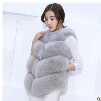 S/3Xl Womens Fox Fur Vest Coats Fashion Multi-Color Casual Vest Coats Large Size Female Waistcoats V Neck Man-Made Clothes J1751