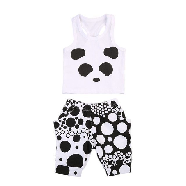 d9211f611b6b 2017 Summer Super Cute Panda Clothing Set Kids Baby Girls Vest ...