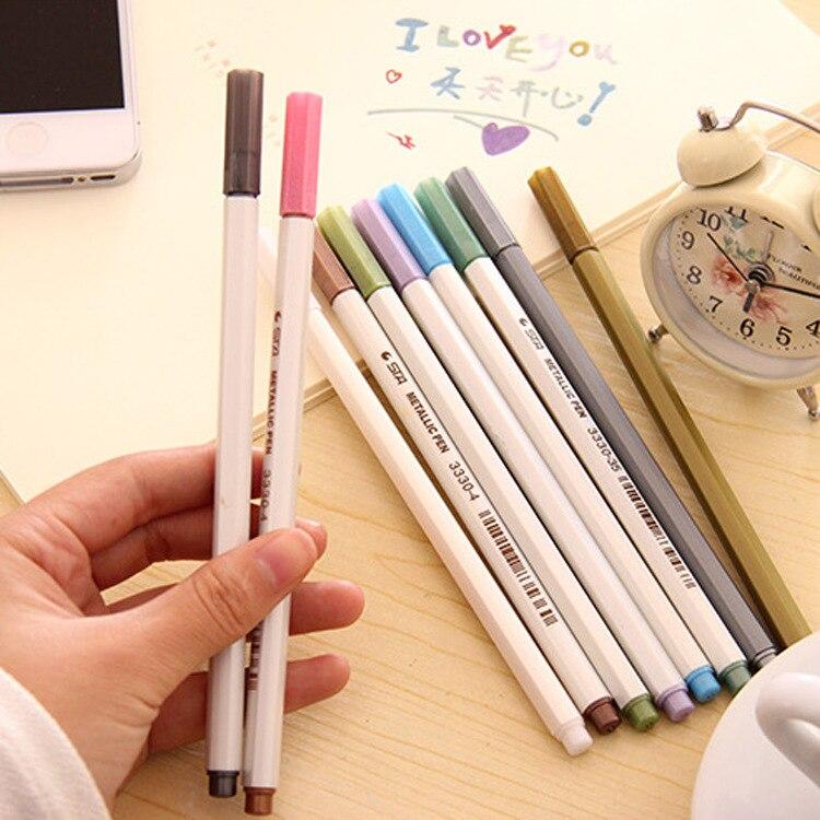 10 Pcs/lot DIY Metallic Watercolor Gel Pen Decorative Diy Album Marker Pen Scrapbooking Card Photo Stationery