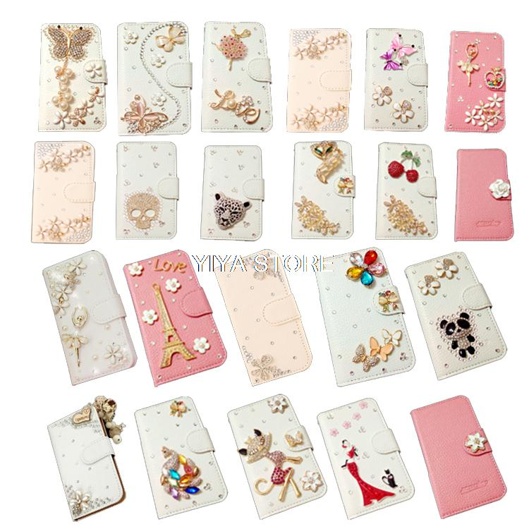 Crystal Diamond Tower skull girl butterfly Leather Wallet Card Flip Case Cover Apple iPhone 3 3G 3GS - Shenzhen YI YA Technology Co.,Ltd store