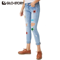 GLO STORY Women Jeans 2018 Skinny Fashion Ripped Beads Hole Women's Jeans Embroidered Colored Star Jeans Boyfriends WNK 4105