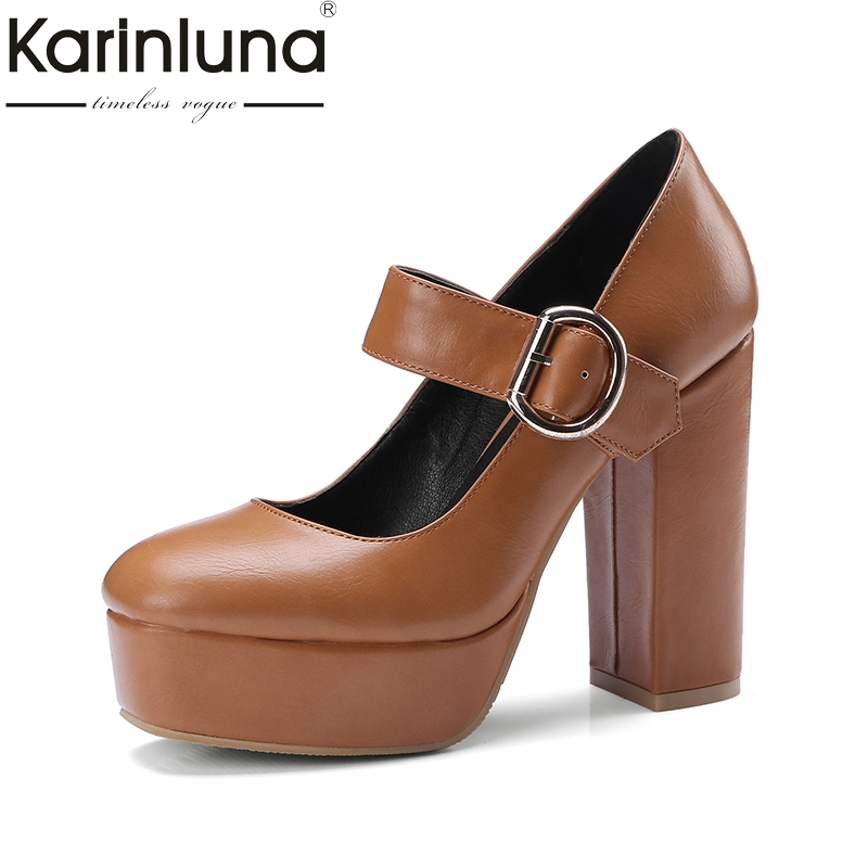 karinluna 2018 Mary Jane Thick High Heel Shoes Woman Buckle Up Round Toe Platform Pumps shoes women Big Size 32-42 new stage light controller 192ch dmx512 controller for stage dj equipment in led par moving head beam christmas laser projector