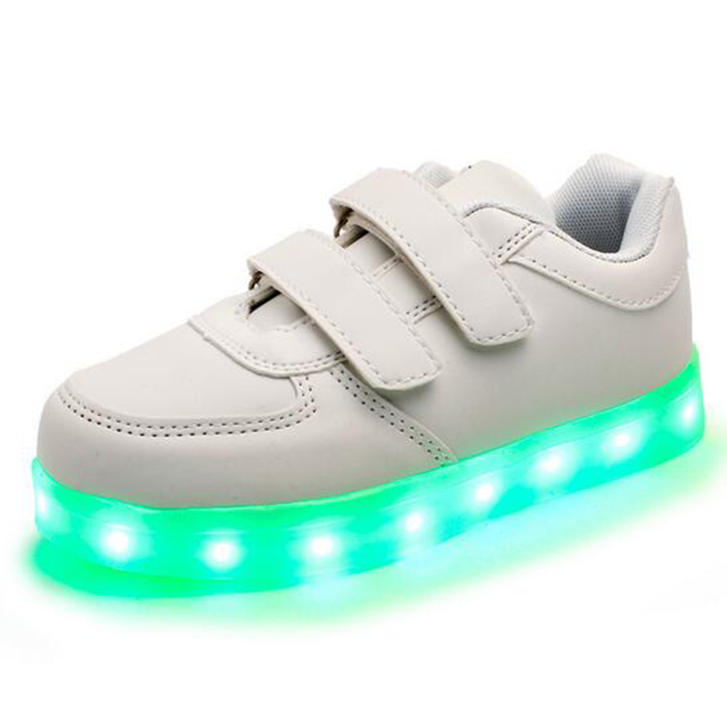 Fashion 8 Colors Kids Sneakers Charging Luminous Lighted Colorful LED lights Children Shoes Casual Flat Girls Boy Shoes new fashion children usb charging led light shoes kids sneakers fashion luminous lighted boy girl shoes chaussure led enfant