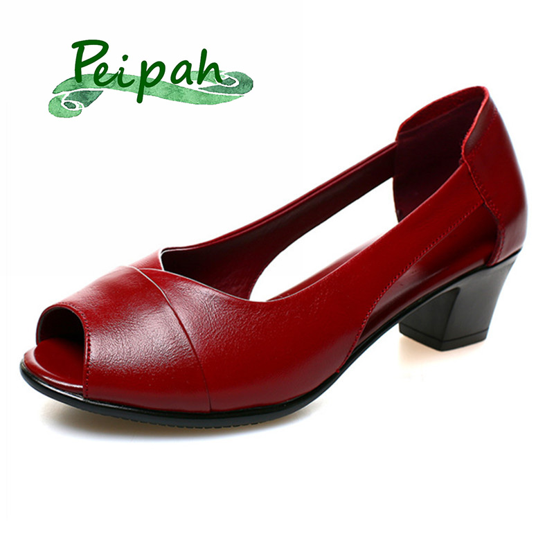 PEIPAH Summer Peep-toe Women Sandals Genuine Leather High Heeled Female Sandals Platform Shoes Woman Casual Solid Shallow Shoes