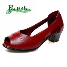 Peipah verão peep toe sandálias femininas de couro genuíno salto alto sandálias femininas sapatos plataforma mulher casual sólida rasa sapatossandálias femininas