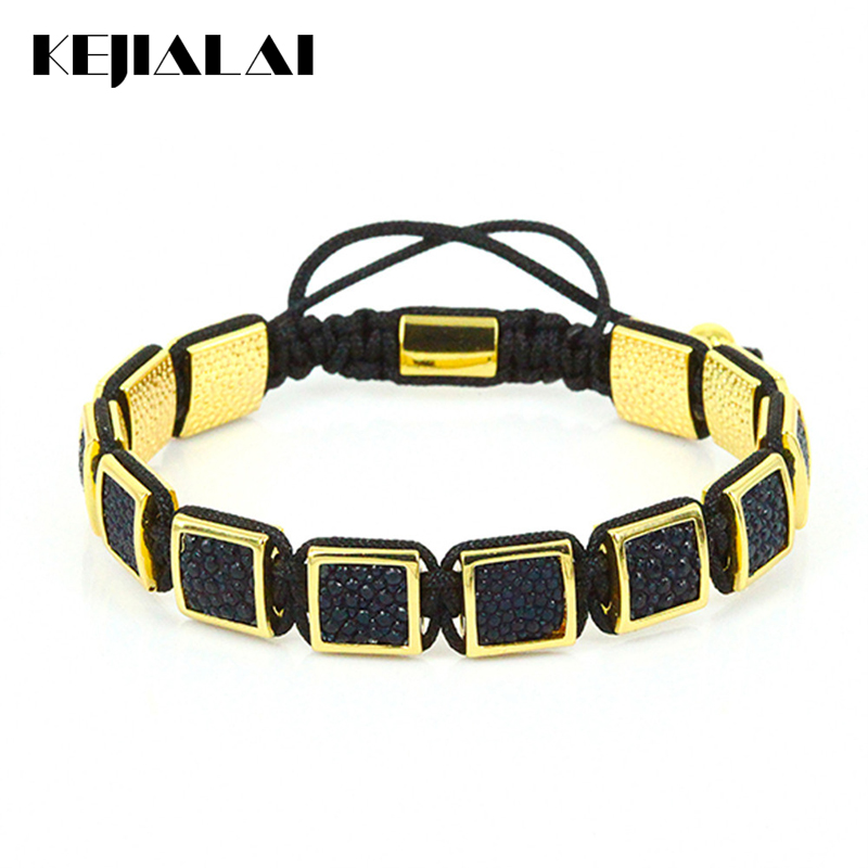 Famous Brand Men Bracelets Genuine Stingray Leather Square Beads Braided Macrame Bracelet Gold Color Luxury Style for Men Gift 2016 new waterproof black beads macrame bracelets for men women high end cz beads braided bracelet for watch boho men jewelry