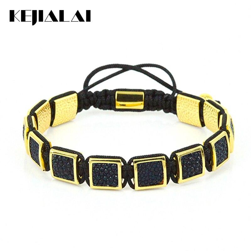 Famous Brand Men Bracelets Genuine Stingray Leather Square Beads Braided Macrame Bracelet Gold Color Luxury Style for Men Gift