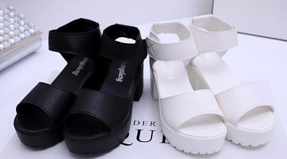 Sandales Bout Des Noir 2016 D'été blanc forme 35 Épais Les 41 À Femmes Plate Chaude Ouvert Talon Pour Chaussures De Cales qzaSPH