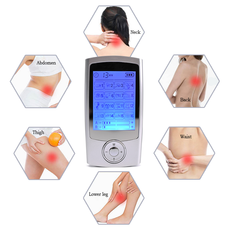 все цены на Dual-output TENS Machine 16 Modes Massage Device Digital Pulse Therapy Electric Muscle Stimulator Full Body Pain Relief +4 Pads