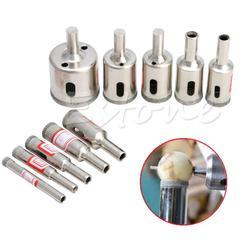 10 sztuk narzędzie diamentowe wiertło zestaw z otwornicą do szklana ceramiczna marmur 6mm 32mm w Wiertła od Narzędzia na