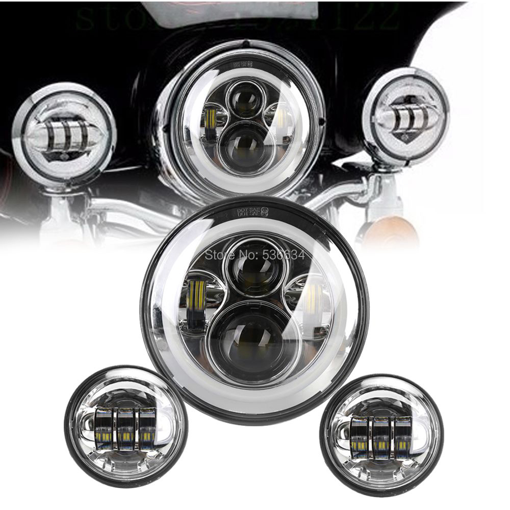 For Harley 7Inch Round LED Projector Hole Ring Headlight Hi/Low  Matching 4.5Inch LED Passing Fog Lamps For Indian Road Master