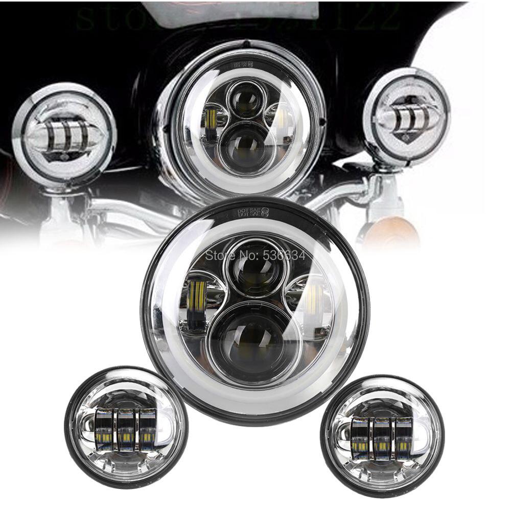 Для Harley 7 дюймов круглый светодиодный проектор отверстие кольцо фары Привет/низкий соответствующие 4,5-дюймовый светодиодный проходящих Противотуманные фары для индийских Дорожный Мастер