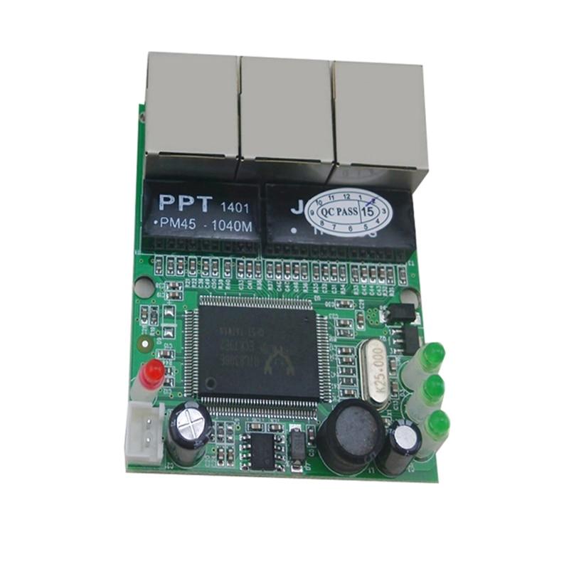 Realtek rtl8306e chipset 90 degree rj45 3 port mini ethernet switch board factory accept oem odm - Mini switch ethernet 3 ports ...