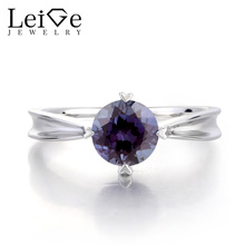 Leige Jewelry Lab Alexandrite Ring Engagement Ring Solitaire Ring Round Cut Fine Gemstone 925 Sterling Silver June Birthstone