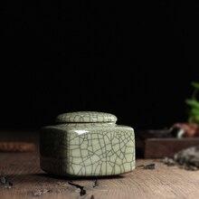 Tea Beauty New 5 Colors Top Grade Crackle Glaze Longquan Celadon Ceramics Eco-Friendly Tea Caddy Tea Canister Tea Porcelain Jar