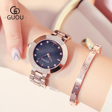 Hong Kong GUOU Brand Fashion quartz Ladies watch high-end luxury Women stainless steel Dress Watches waterproof wristwatch Reloj часы guou