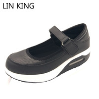 LIN KING Fashion Height Increasing Ankle Straps Swing Shoes Women Spring Single Shoes Patchwork PU Leather