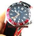 41mm bliger cadran bleu marine GMT verre saphir lumineux date rouge noir lunette automatique montre homme