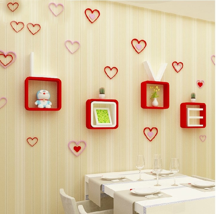 Creative heart shaped three dimensional wall post marriage room type ...