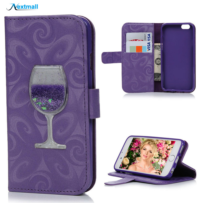Liquid Quicksand Wine Glass Glitter Leather Case For iPhone 5 5S SE 6 6S Plus Luxury 3D Flip Stand Wallet Cover Bag Card Slots