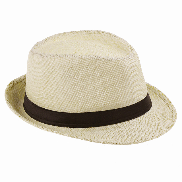 d9628c4516c Men Straw Fedora cap Trilby Chapeu Beach sun hat sombrero cowboy Sunhat  Bucket Travel handmade band Summer panama hat Men