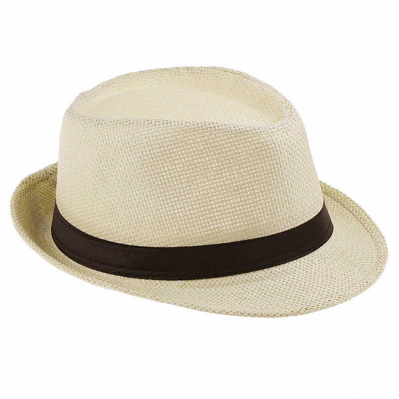 258b43fb6db Men Straw Fedora cap Trilby Chapeu Beach sun hat sombrero cowboy Sunhat  Bucket Travel handmade band