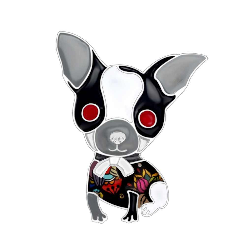 Bonsny エナメル合金アニメチワワ犬ブローチかわいい動物ジュエリーピンスカーフのための服の女性の女の子装飾ペット愛好家のギフト
