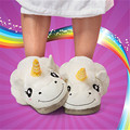 Candice guo plush toy stuffed doll cartoon Harajuku corner unicorn winter warm soft home floor slipper children girl gift 1pair