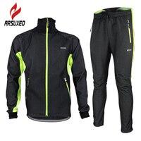 ARSUXEO Bike Wind Coat Winter Fleece Thermal Cycling Jacket Outdoor Sports Windproof Waterproof Jersey Warm Up