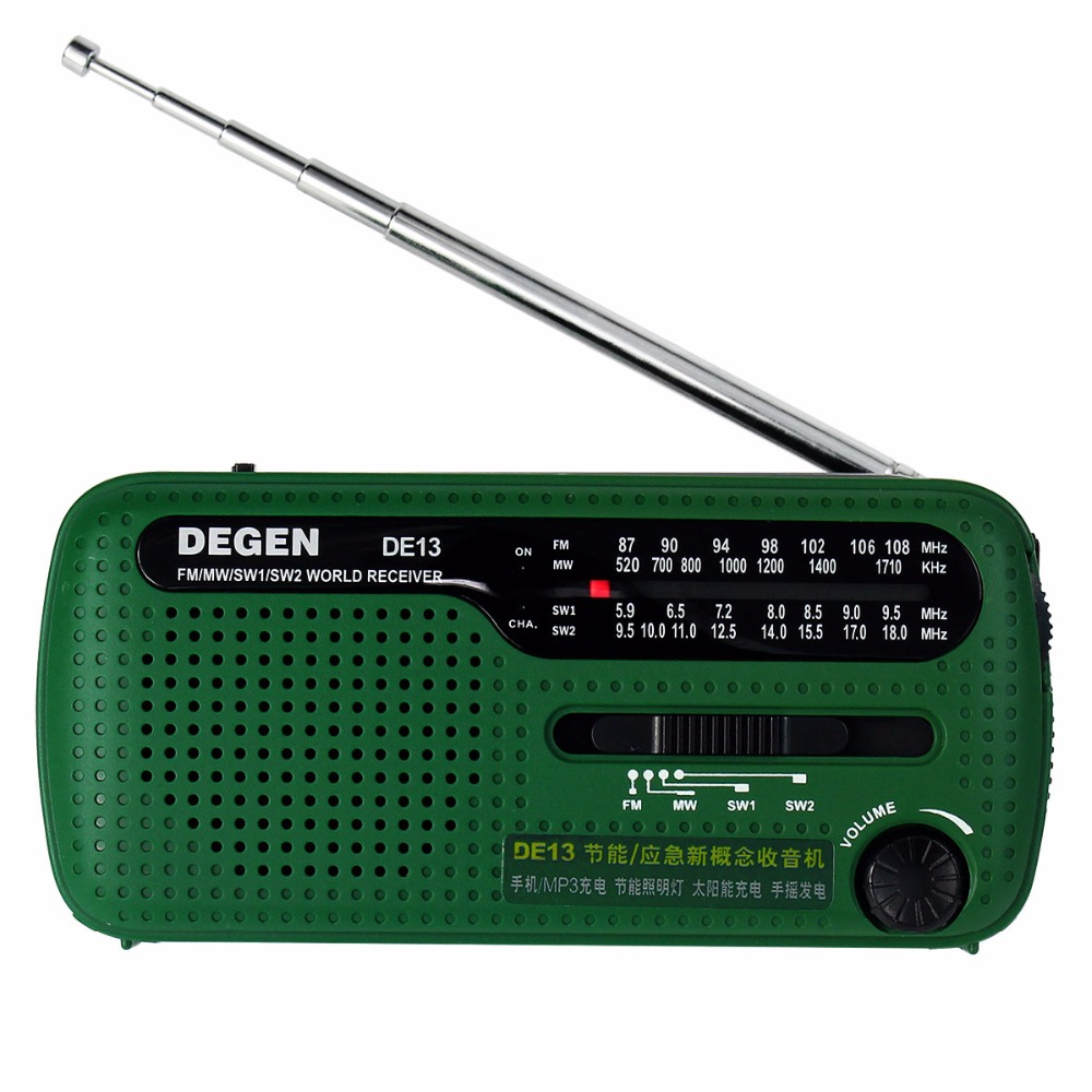 DEGEN DE13 FM AM SW Crank Dynamo Solar Power Emergency Radio A0798A World Receiver 5pcs pocket radio 9k portable dsp fm mw sw receiver emergency radio digital alarm clock automatic search radio station y4408