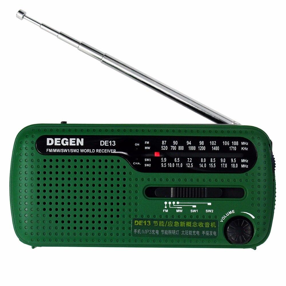 DEGEN DE13 FM AM SW Crank Dynamo Solar Power Notfall Radio A0798A Welt Empfänger