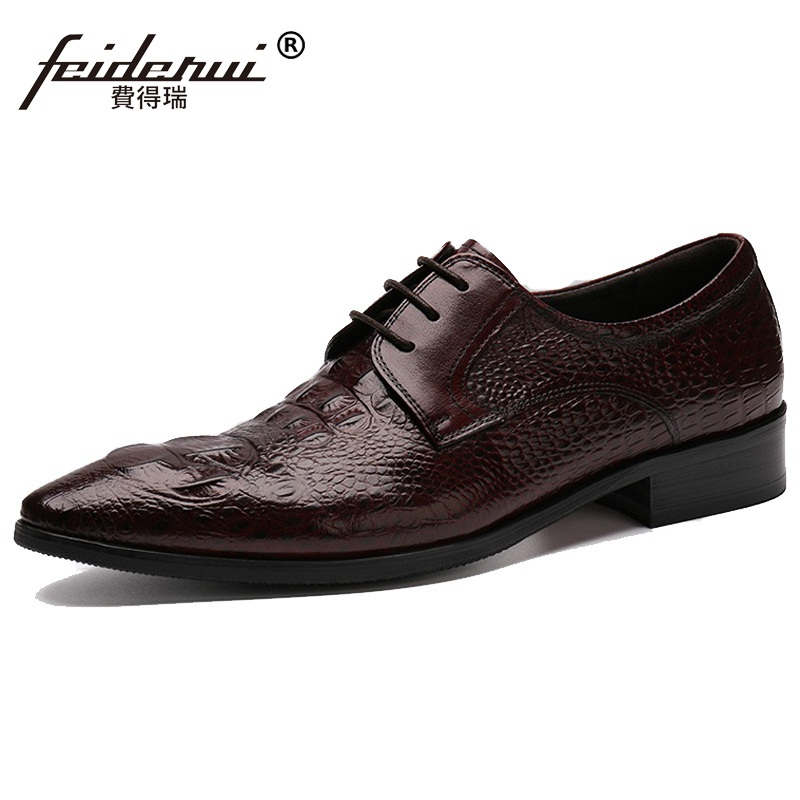 Luxury Crocodile Man Formal Dress Shoes Italian Genuine Leather Male Derby Oxfords Pointed Toe Men's Wedding Bridal Flats CE21 2017 fashion italian luxury brand formal mens dress shoes genuine leather wedding shoes crocodile men flats office oxfords shoes