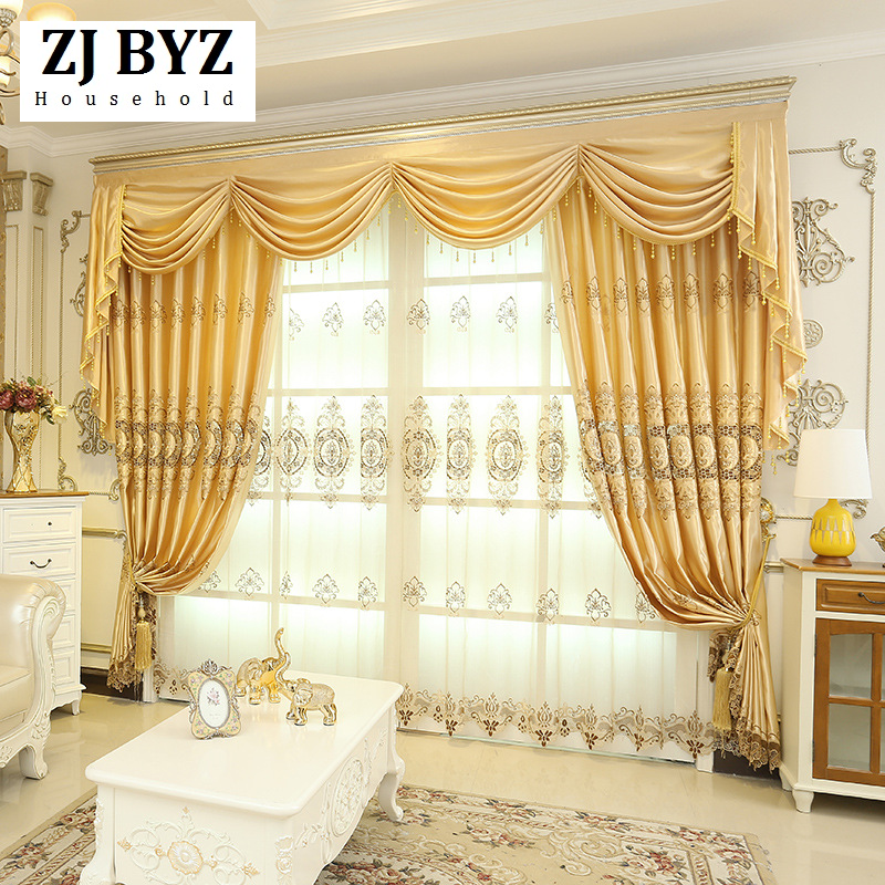 Stuttgart Curtain Type Water Soluble Embroidery Curtains For Living Dining Room Bedroom European Style Valance Finished Curtain