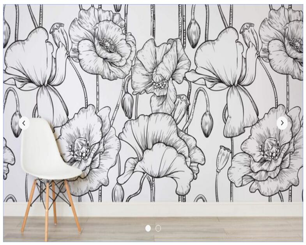 Custom papel de parede floral, Black and White Illustrated Flowers for  living room TV wall vinyl papel DE parede custom papel de parede floral black and white illustrated flowers for living room tv wall vinyl papel de parede