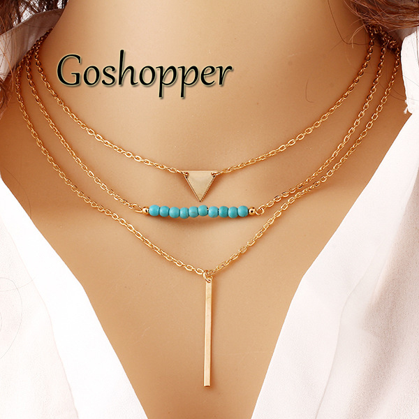 Western style women turquoise necklace elegant 3 layer chain western style women turquoise necklace elegant 3 layer chain necklace bohemian beads necklaces pendants jewelry n50009 in chain necklaces from jewelry aloadofball Image collections