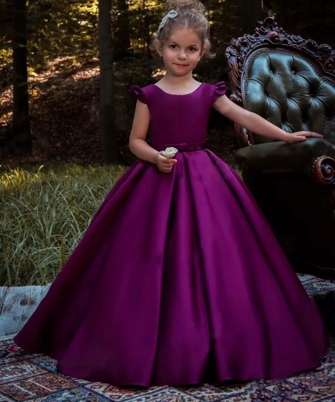 New Purple Girls Dresses with Bow A Line Girls Pageant Party Gown Custom Made Size 2 4 6 8 12 16Y