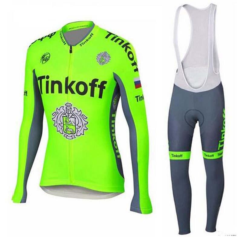 ФОТО 2017Flour Green Saxo Bank Tinkoff Autumn cycling set/Top Quality Ropa Ciclismo Bike Clothing/Cycling clothing Cycling Jersey set