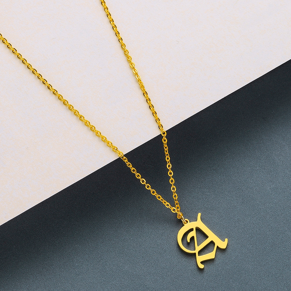 Todorova Old English Custom Capital Initial A-Z Letter Pendant Necklace Men Vintage Font Personalized Necklace Women Jewelry 3