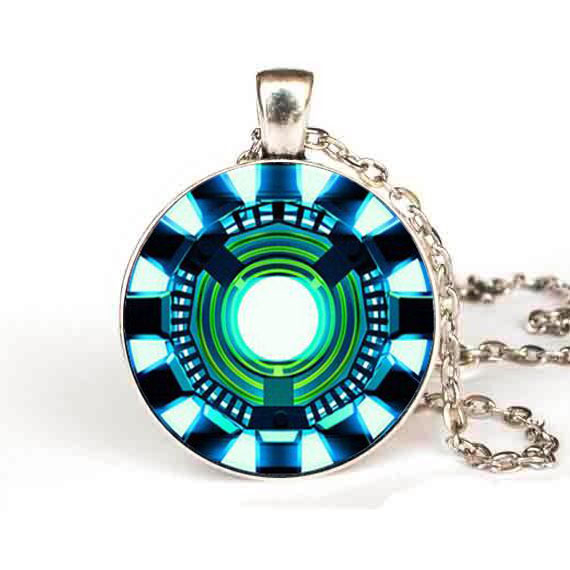 Iron Man Arc Reactor Necklace Tony Stark arc reactor Pendant chain Jewelry women men gift vintage antique charm vintage 2017