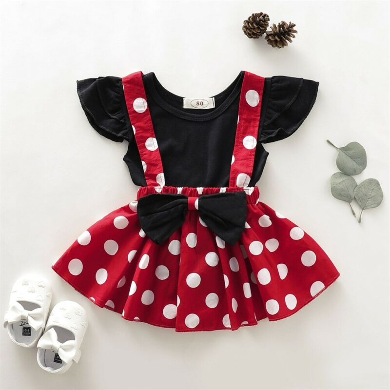 2PCS Toddler Kid Baby Girls Fly Sleeve Tops T-shirt Polka Dot Bowknot Suspender Skirt Sets Outfit Girls Clothes