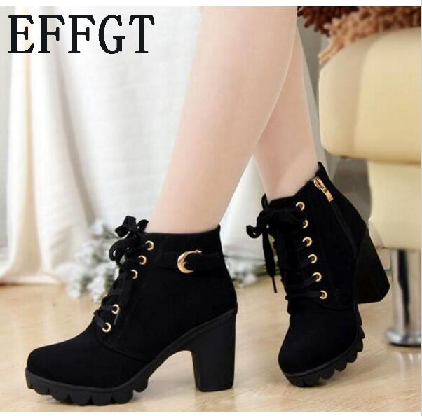 62ec2c59282 EFFGT 2017 New Autumn Winter Women Boots High Quality Solid Lace-up  European Ladies shoes PU Leather Fashion Boots Free Shipping