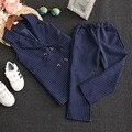 Conjunto de roupas meninas veste listrada com calças terno para crianças menina roupas set crianças outono outwear azul/cinza longo ternos de inverno