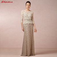 Champagne Mother of the Bride Dresses for Weddings Lace Long Sleeve Evening Prom Groom Godmother Dresses