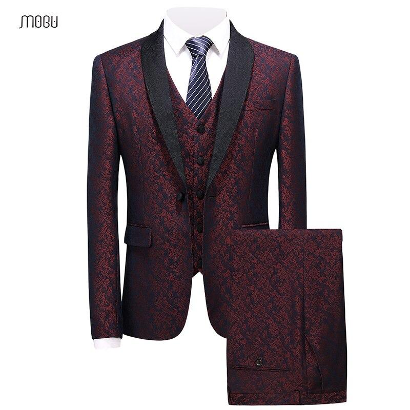 MOGU Новая мода воротником мужские костюмы с 3 предмета 2018 печатных Фитнес костюмы для выпускного Роскошные Высокое качество Для мужчин костю