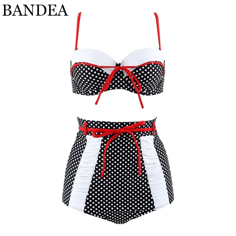 BANDEA plus size bikini set women bandeau swimwear sexy push up bathing suit retro high waisted swimsuit for women beach wear
